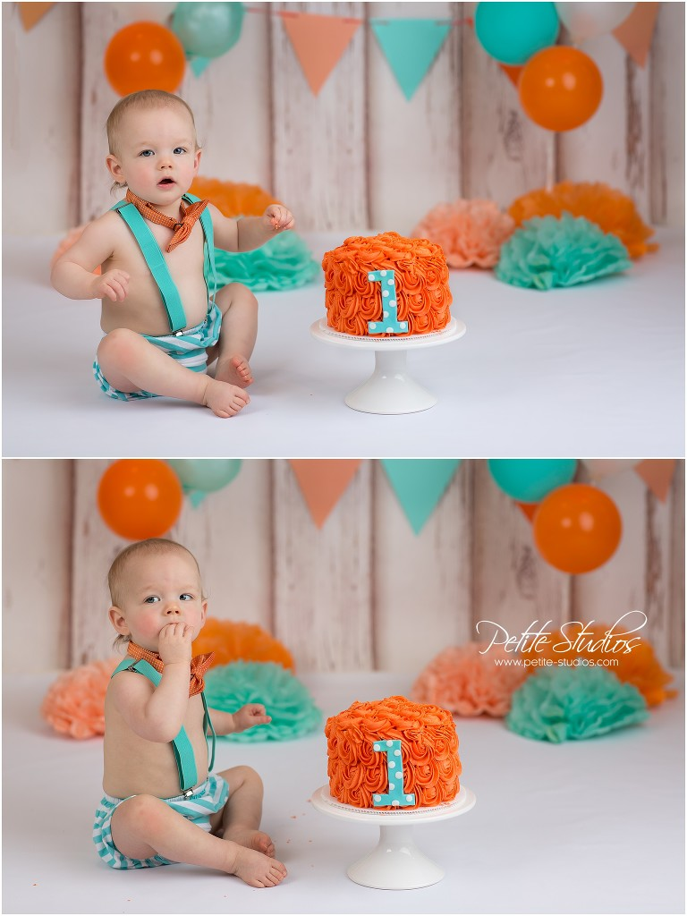 Chicago and Naperville Baby Photographer First Birthday Boy Cake